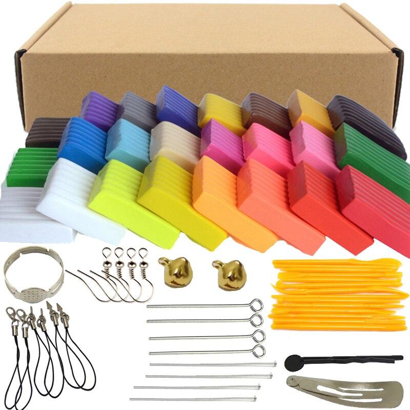Cores x20g 24 Forno de Cozimento Fimo Polymer Modelagem em Argila Argila Floam Luz Caixa De Plasticina Slime Slime Brinquedos Macios para Crianças DIY
