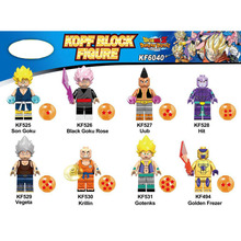 KF6040 Plastic Building Blocks Figures Super Heroes Dragon Ball Series Son Goku Uub Hit Gotenks Vegeta Krillin For Children Toys