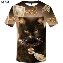 KYKU Cat T shirt Men Animal Funny shirts Money Tshirt Printed Dollar Tshirts Casual Metal Shirt Print Short Sleeve summer