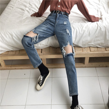 Jeans Denim Women Holes Zipper Pockets Straight Retro Casual Womens Slim High Waist All-match Vintage Chic  Style Daily цена 2017