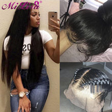 Straight Glueless Full Lace Human Hair Wigs Pre Plucked With Baby Hair 180 Density Remy 10- 26 inch Peruvian Hair Lace Front Wig(China)