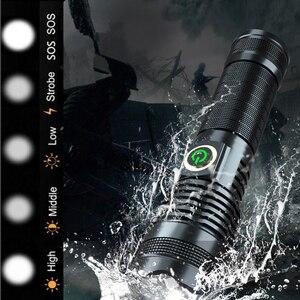 Светодиодный охотничий фонарик XHP50, мощный фонарик, Перезаряжаемый USB, длинный фонарь, масштабируемый Тактический Ручной светильник, питани...