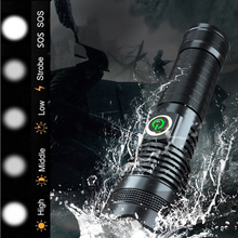 Hunting LED lantern powerful XHP50 flashlight USB rechargeable long use torch zo