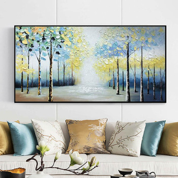 Abstract canvas painting Wall art wall pictures for living room Home decoration tree painting acrylic art texture