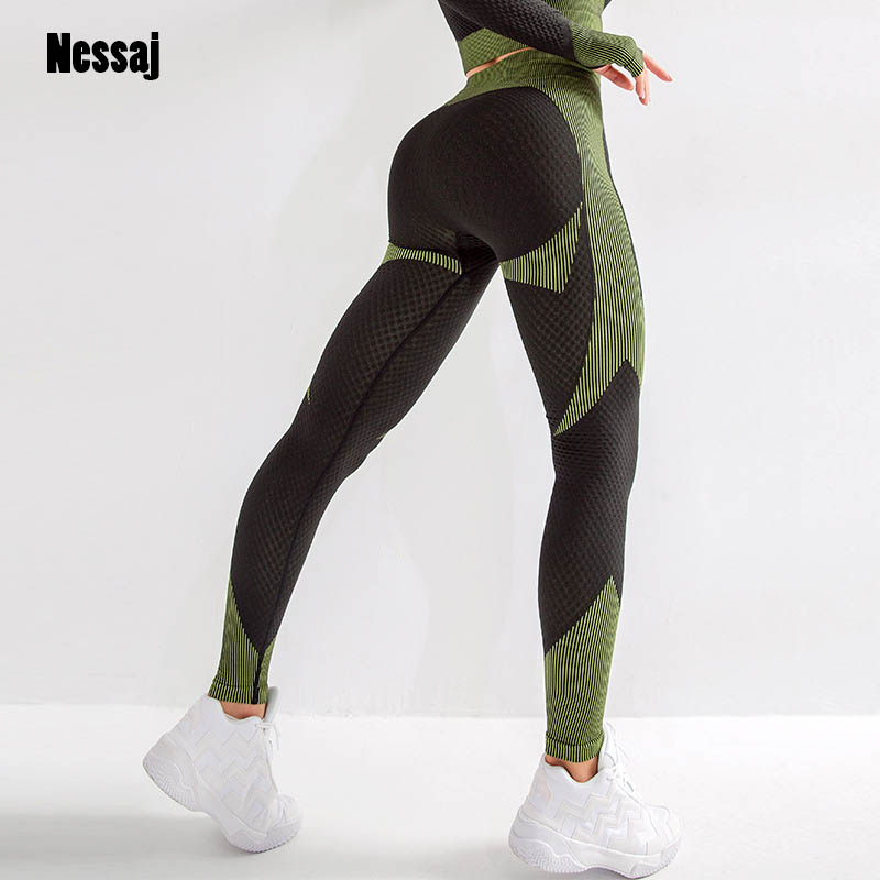 Nessaj High Quality Fitness Seamless Leggings Women High Stretch Gym Training Trousers Sport Breathable High Waist Leggings