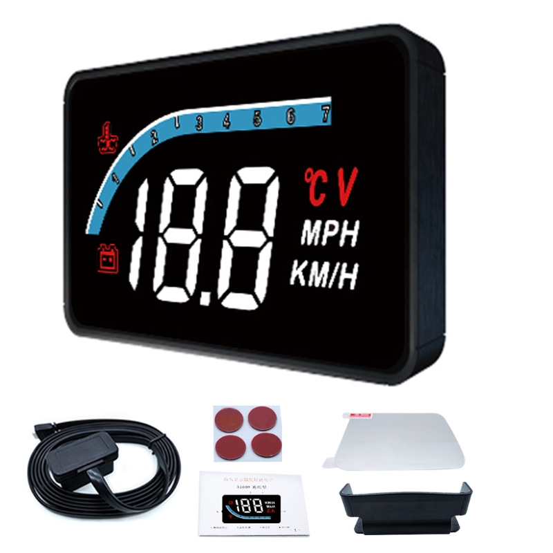 Car Monitor Upgraded Head-up Display Dual-mode Windshield Projector With Digital Clock Speeding Warning for All Cars
