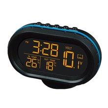 Multi-function Car Temperature Clock Voltmeter Car Thermometer Electronic Clock Car Night Light Clock Supplies
