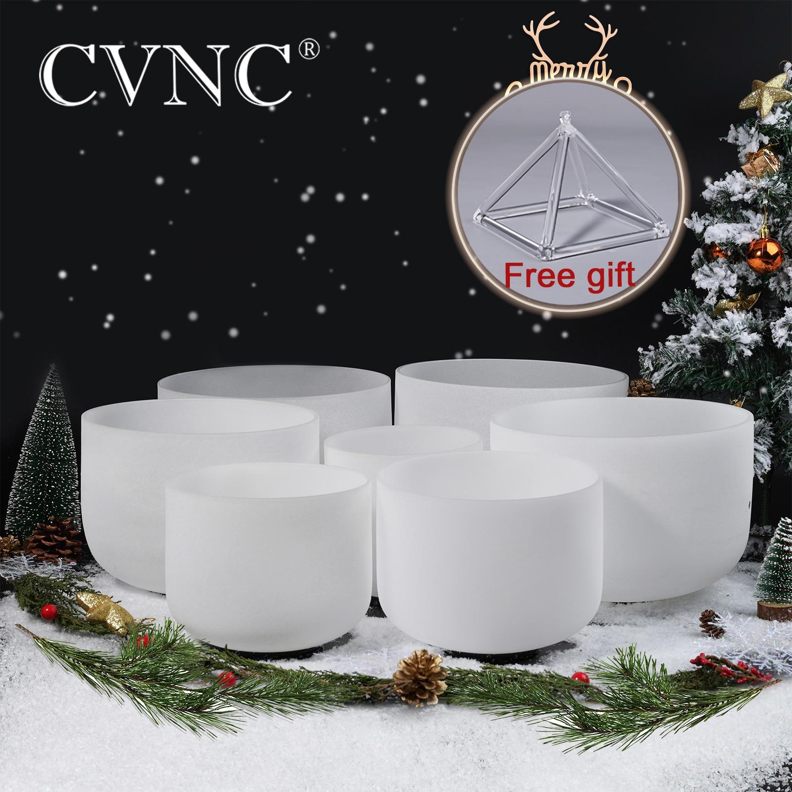 """CVNC 440Hz ou 432Hz 8 """"-16"""" Chakra Note ensemble de 7 pièces C D E F G A B cristal de Quartz givré chantant bols"""