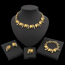 Yulaili New Elegant Zinc Alloy Gold Silver Color Crystal Maple Leaf Necklace Stud Earrings Bracelet Ring Wedding Jewelry Sets(China)