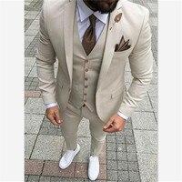 Men Suit Latest Coat Pant Designs Beige Prom Tuxedo Slim Fit 3 Piece Groom Wedding Suits For Men Custom Blazer Terno Masuclino