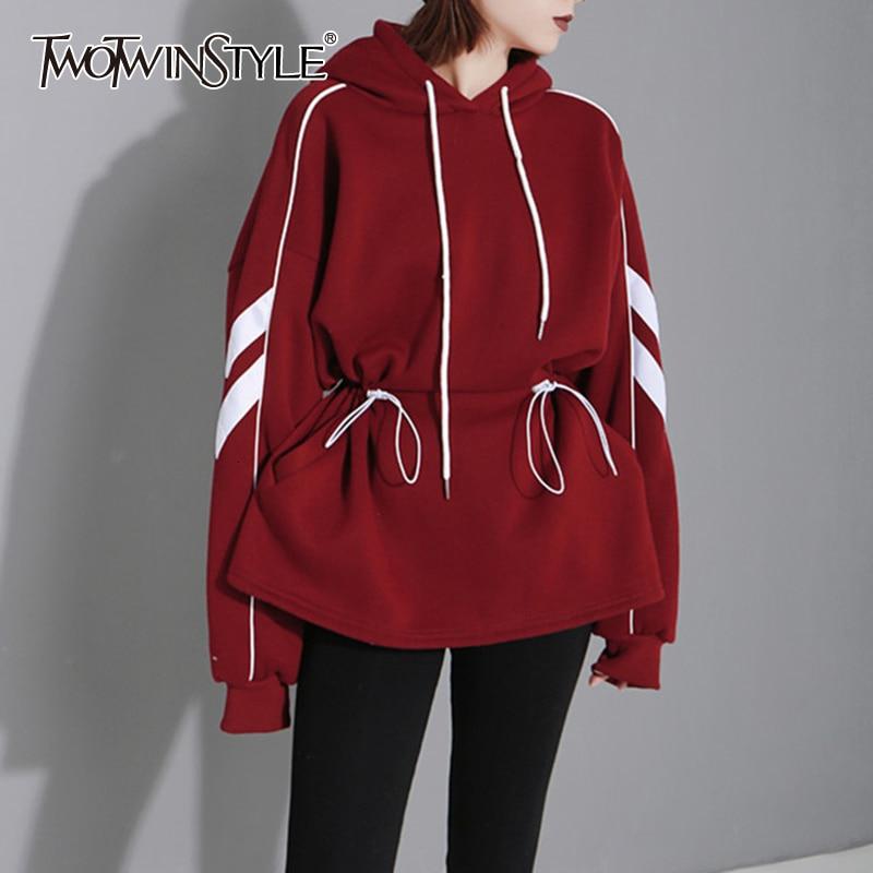 TWOTWINSTYLE Print Hit Color Sweatshirts Female Hooded Collar Lantern Long Sleeve Drawstring Casual Autumn Sweatshirt Women Tide