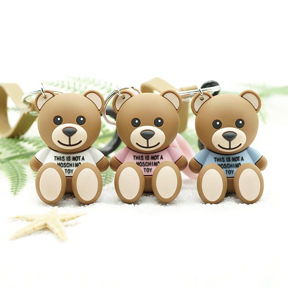 2019 Cute Cartoon Bear Key chain Gifts For Women Bag Pendant Epoxy PVC Figure Charms Key Chains Children's toy gift key ring