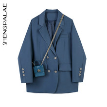 Suit Jacket Women Blazer Spring British-Style Retro Blue Double-Breasted Ladies And Autumn