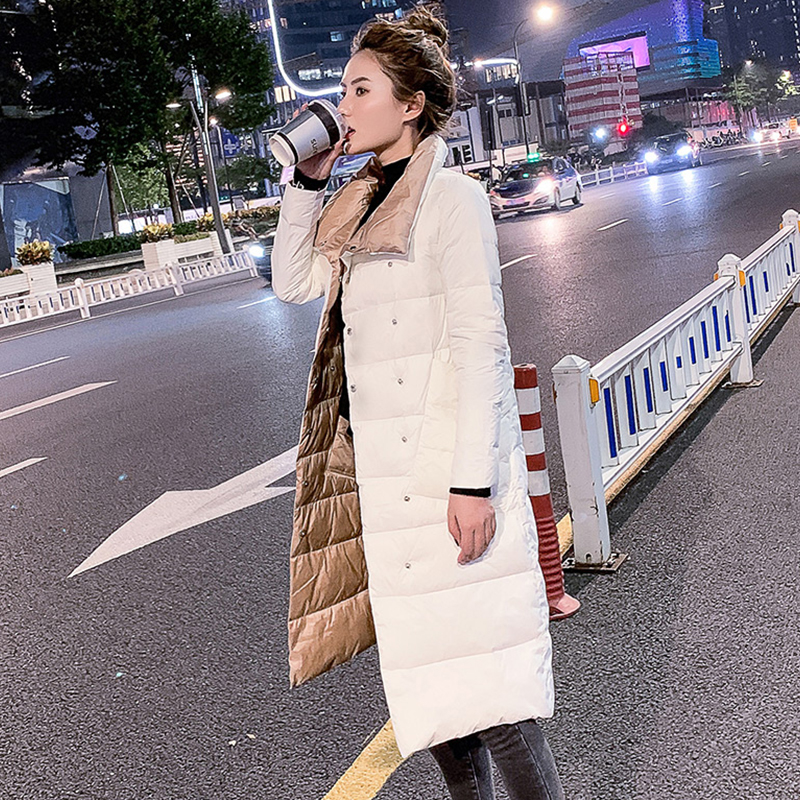 FTLZZ Women Double Sided   Down   Long Jacket Winter 90% White Duck   Down     Coat   Double Breasted Warm Parkas Snow Outwear