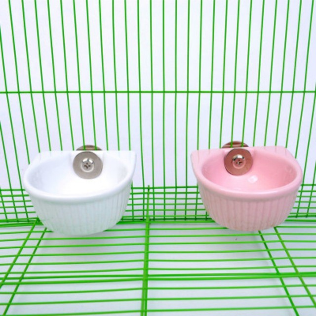 Ceramic Water Food Feeder Pet Anti-overturned Food Bowl Feeding Dish Hamster Parrot Food Bowl Small Animal Cage Bowl 2