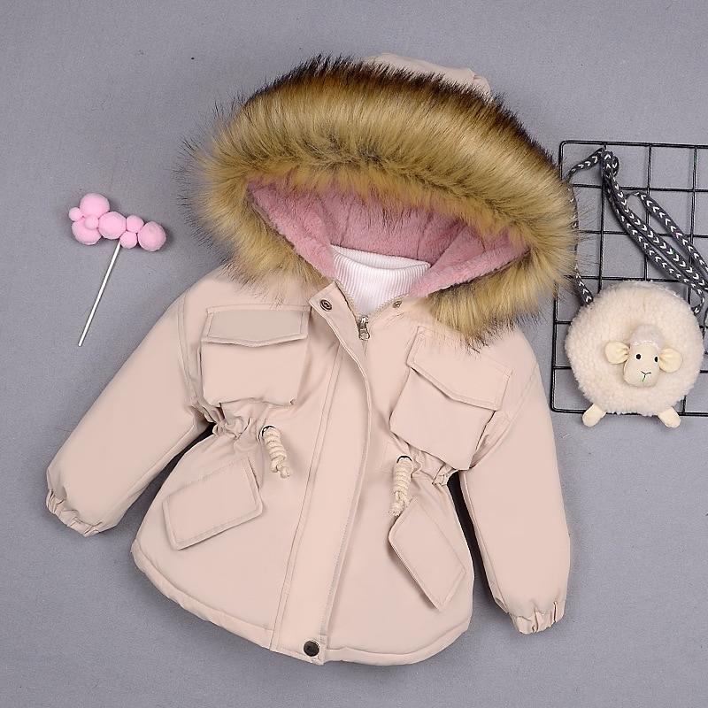 2020 осень На зимнем меху воротник куртки с подкладкой для ребенка, Детский пуховик для девочек детское теплое пуховое пальто для девочек; Пал...