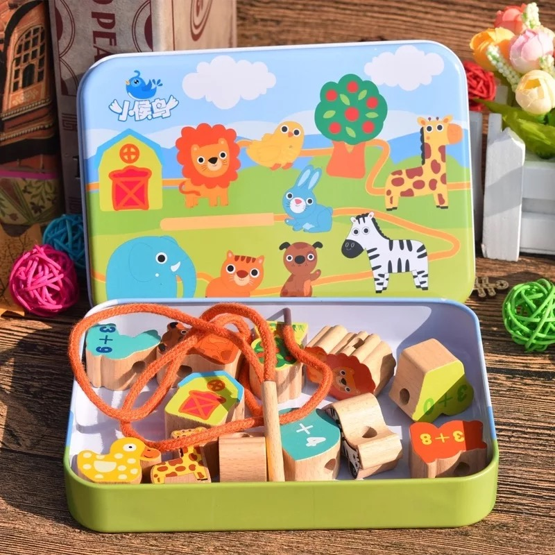 Beads Toys  Animals Fruit Ocean Wood Block Wooden Toys Stringing Threading Beads Game Early Education Toy For Baby Kids Children
