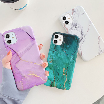 Marble Crack Matte Phone Cases For iphone 12 mini 11 Pro Max SE 2020 XS Max XR X 7 8 Plus Case Cover Silicone Soft TPU IMD Back image