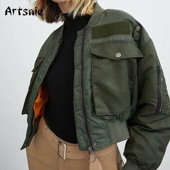 Artnie-blouson chaud Bomber pour Femme, poches vert armée et fermeture éclair, automne-hiver 2020 1