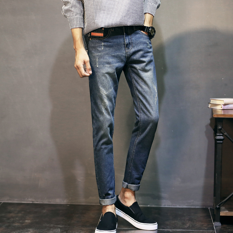 2019 Japanese-style MEN'S Jeans Men's Korean-style Slim Women's Skinny Pants Teenager Versatile Autumn And Winter Pants Fashion