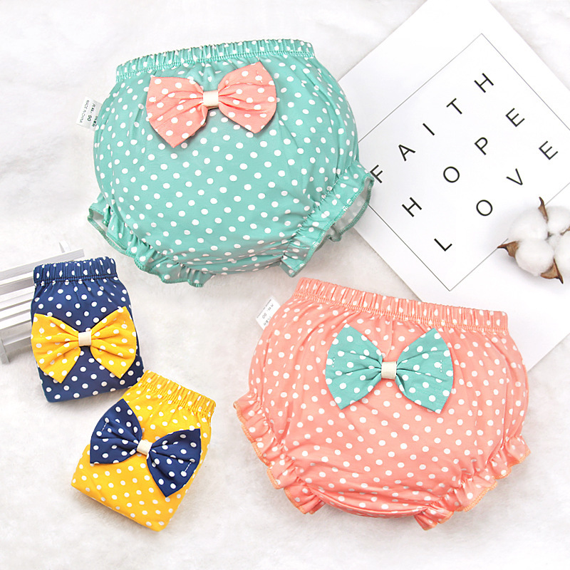 Newest Baby Underwear 100% Cotton Toddler Girls Underpants Infant Diaper Cover Dot Print Bow Underpants Newborn Bloomers Shorts
