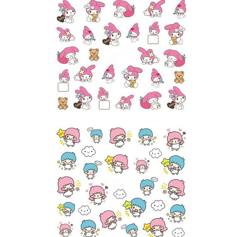 1 Pcs Classic DIY Stickers My Melody Little Twin Stars Water Decal Nail Stickers Design Sticker For Nail Accessories