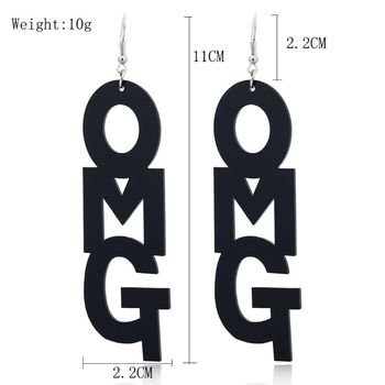 Creative OH MY GOD Message Letter OMG Big Acrylic Drop Earrings Fashion Jewelry image