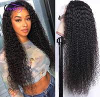 Cranberry-peluca ondulada rizada malaya Jerry para mujeres negras, malla con división en T, Remy, pelucas de cabello humano