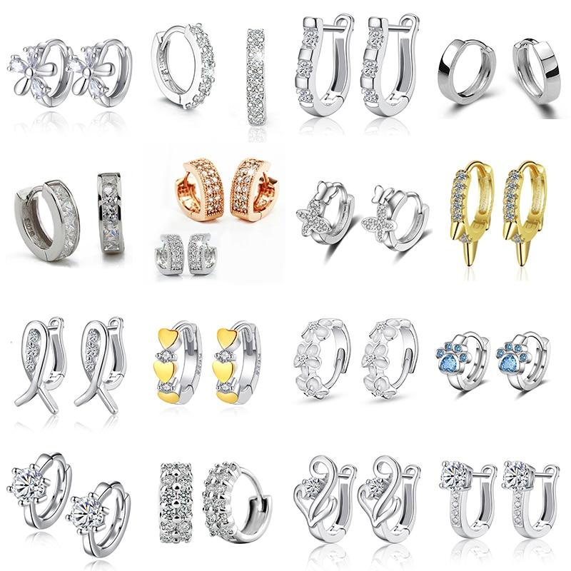 Fanqieliu Cute Small Crystal Earrings Woman Real 925 Sterling Silver Hoop Earrings Women U Shape Horseshoe Earring FQL20F12ER1