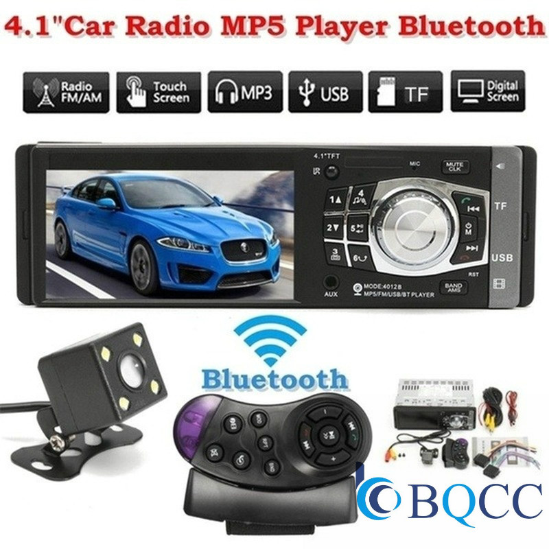 car radio 1 one DIN 12v Car audio Stereo Multimedia Player 4.1 inch Screen autoradio bluetooth SD USB TF support Camera 4012B image