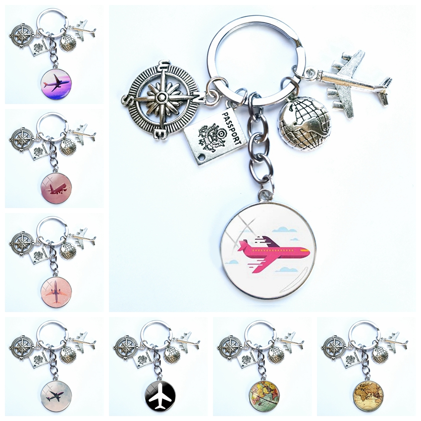 Tour Around World Airplane Map Keychain Travel Discovery Discover Glass Dome Cabachon Airplane Map Charm Pendant Keychain Gift