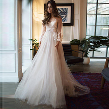 Verngo A-Line Wedding Dress Boho Long Sleeve Bride Dress Custom Made Size Appliques Tulle Wedding Gowns Vestido Casamento