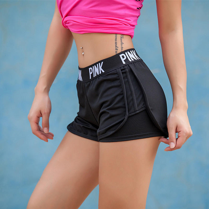 Summer Letter Gym Shorts Women Fitness Running Fitness Quick Dry Elastic Waist Solid Color Thin Skinny Shorts Academia Feminina