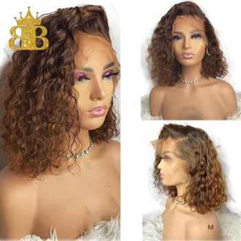 Peluca con malla frontal de 130% Rizado corto Bob de 13x4 pelucas de cabello humano Remy brasileño Ombre 1B/27 Color Pre desplumado para mujeres proporción media