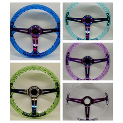 New Sports 14inch 350mm Transparent Discoloration 70mm Racing Motorsport Acrylic Steering Wheel With Logo Horn Button