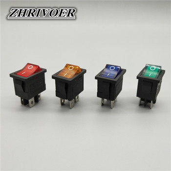 цена на KCD1 4Pin LED Light Boat Car Rocker Switch 6A/10A 250V/125V AC Red Yellow Green Blue 220V