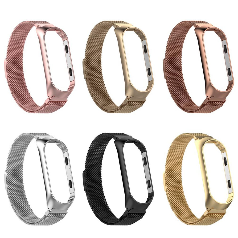 Stainless Steel Band Replacement Accessories For Xiaomi 3/4 Milanese Bracelet Strap Wristband With Unique Magnet Lock