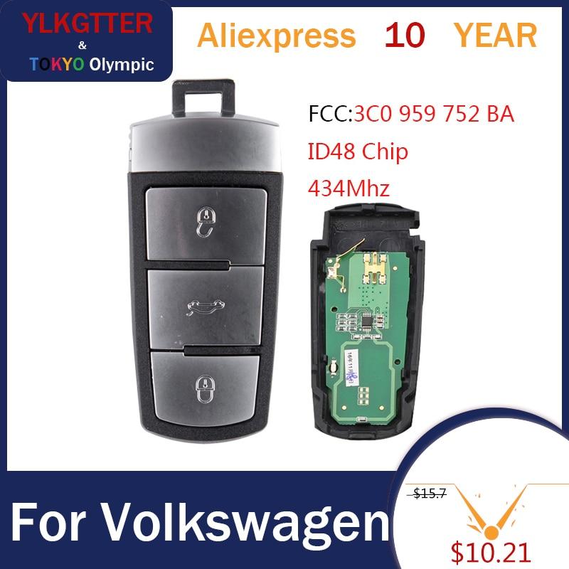 YLKGTTER  Smart Remote Car Key Fob For VW/Volkswagen Passat B6 3C B7 Magotan CC with 3C0959752BA 434Mhz ID48 Chip Car Key|Car Key| |  - title=