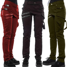 Женские готические брюки на молнии с карманами и заклепками, брюки в стиле стимпанк, модные осенне-зимние штаны в стиле хип-хоп рок для девушек размера плюс К2