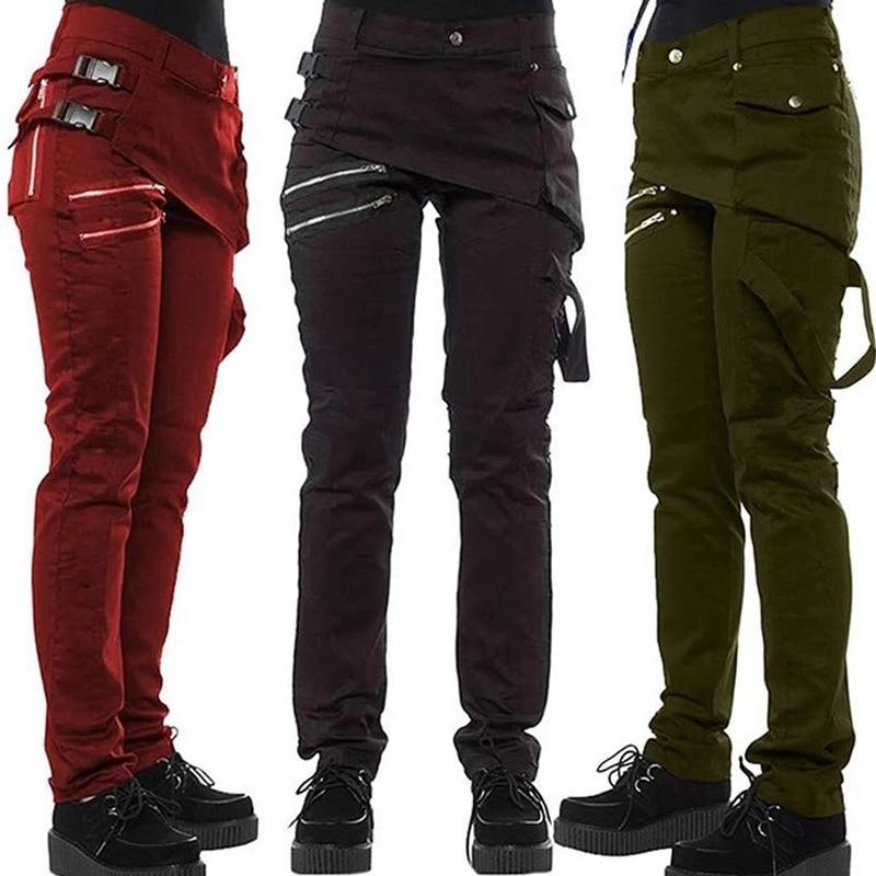 Women Gothic Pants Zipper Pockets Rivet Steampunk Trousers 2019 Fashion Autumn Winter Hip hop Rock Style Pants Girl Plus Size K2