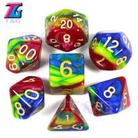Colourful Imitation Liquid Oil Painting Dice Set TRPG Games for Dungeons Dragons Opaque D4-D20 Multi Sides Dice BoardGame