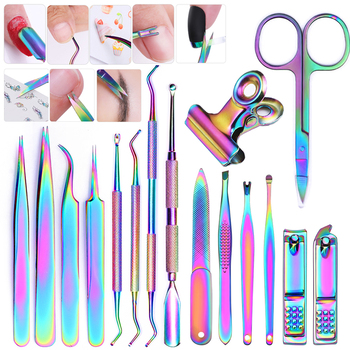 8 Style Colorful Cuticle Pusher Tweezer Stainless Steel Cuticle Trimmer Dead Skin Nails Pusher Tools UV Gel Polish Clean Tools