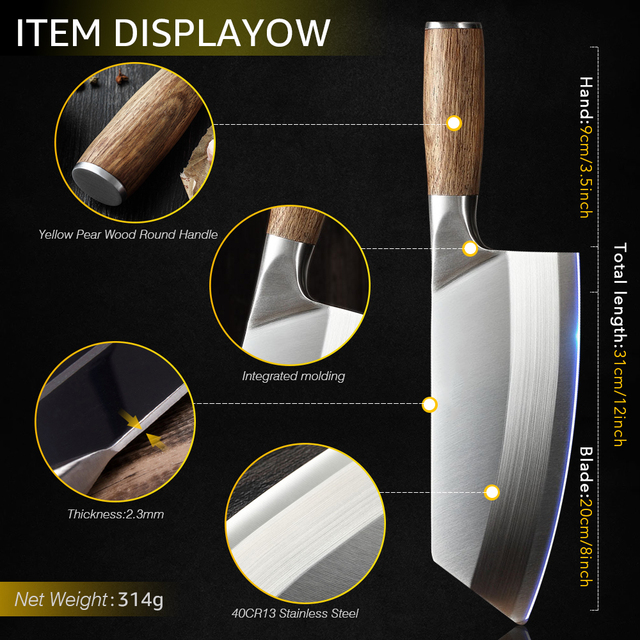 Chef Cleaver Knife Stainless Steel Wood Handle 3