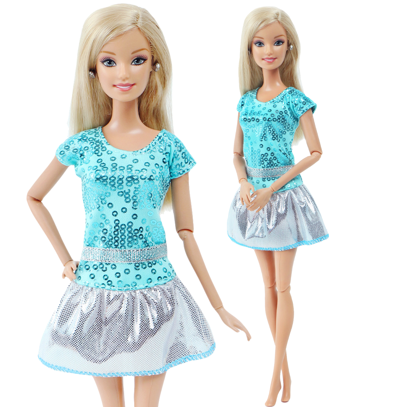 1 Pcs Fashion Doll Dress For Barbie Doll Shiny Blue Wedding Party Short Gown 12'' 30cm Girl Doll Clothes Accessories Kid's Toy