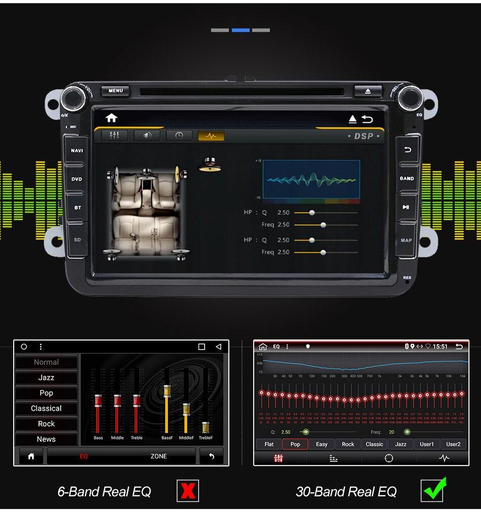 Eunavi 2 din Android 9 Octa Core 4GB 64GB samochodowy odtwarzacz DVD dla VW Passat CC Polo GOLF 5 6 Touran EOS T5 Sharan Jetta Tiguan Radio GPS DSP