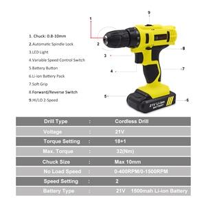 Image 3 - Goxawee chave de fenda elétrica, 21v/12v sem fio com baterias de lítio recarregável mini furadeira 2 velocidades energia sem fio ferramenta,