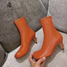 2020 outono inverno pele de carneiro salto alto dedo do pé quadrado botas de estiramento stovepipe voltar zíper couro tornozelo botas mais tamanho sapatos femininos