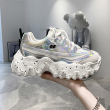 Women Platform Chunky Sneakers Ulzzang Fashion Red White Lace Up Woman