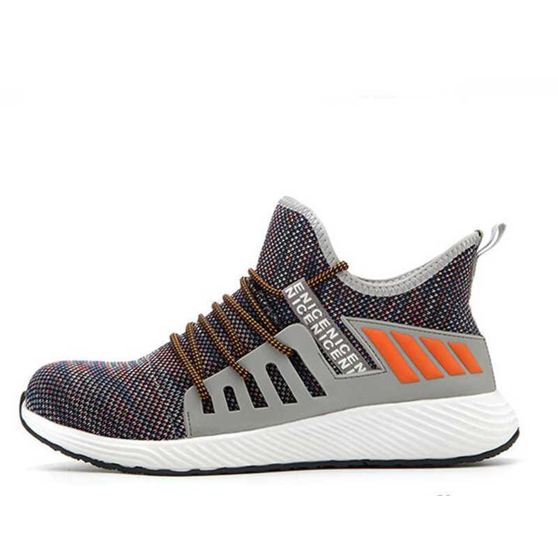 2019 nowe buty robocze bhp moda Sneakers mężczyźni ultralekkie miękkie dno oddychające Anti-crush ze stalowymi noskami praca przemysłowa boo