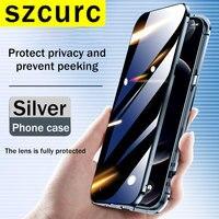 Per custodia iPhone 11. Nuova protezione completa a 360 ° per la copertura del telefono in vetro metallico ad adsorbimento magnetico peep iPhone 12 Pro MAX Mini